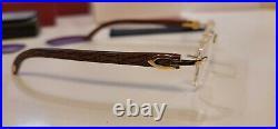 Cartier C Decor Eyeglasses / Sunglasses Bubinga Logo Wood 18k Gold Rimless