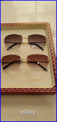 Cartier C Decor Sunglasses Big C 18k Gold Brown Diamond Cut Lenses