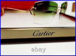 Cartier C Decor Sunglasses Big C 18k Gold Custom Money Green lenses C Wire