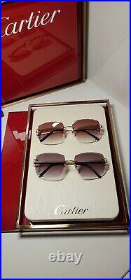Cartier C Decor Sunglasses Big C 18k Gold Grey Diamond Cut Lenses