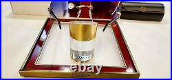 Cartier C Decor Sunglasses Black Buffalo Horn 18k Gold Buffs Custom Blue Lenses