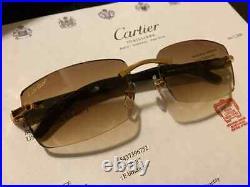 Cartier C Decor Sunglasses Buffalo Buffs 18k Gold Mixed HornRimless