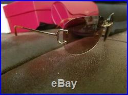 Cartier C Decor Sunglasses Rimless Marbella T8200662 100% Authentic (big C)