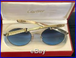 Cartier Giverny Platinum Gold Oval Blue Lens Sunglasses France 57mm Authentic