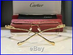 Cartier Gold Clear Sunglasses Glasses Frame Metal Wire Wood Horn Buffalo Vintage