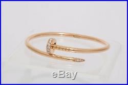 Cartier Juste un Clou Diamond Nail Bangle Bracelet in Rose Gold