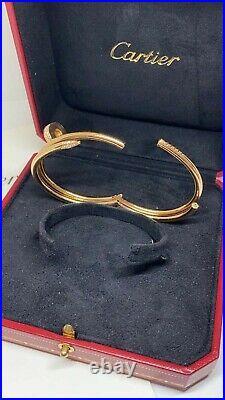 Cartier Juste un Clou bracelet double row 18K pink rose gold w Diamonds Size 15
