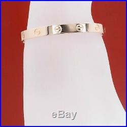 Cartier LOVE Bangle Bracelet 18k Rose Pink Gold New Style Box Receipt Size 16
