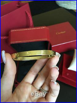 Cartier LOVE Bangle Bracelet 18k Yellow Gold Box Key Travel pouch Box Sz 19