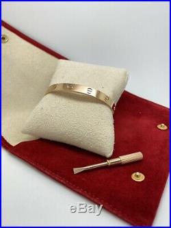 Cartier Love Bracelet 18k Rose Gold size 17 (Model B6035617)