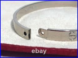 Cartier Love Bracelet White Gold size 20 men with Storage bag