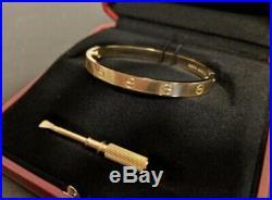 Cartier Love Bracelet in 18k White Gold Size 17