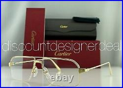 Cartier Navigator Eyeglasses CT0231O 001 Yellow Gold Frame Clear Demo Lens 58mm