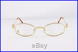 Cartier Octagon Gold Eyeglasses T8100426 Frames Authentic France New 48 mm