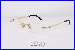Cartier Pale Gold Rimless Eyeglasses T8100631 Frames Rxable Authentic France New