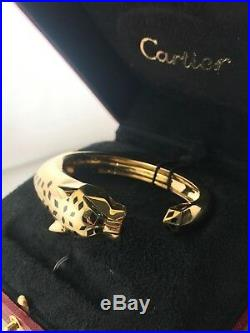 Cartier Panther 18K Yellow Gold Onyx And Green Garnet Bracelet 40K Value