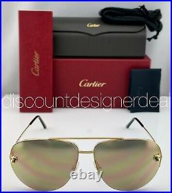 Cartier Panthère Aviator Sunglasses CT0065S 009 Gold Frame Gold Mirrored Lens 62
