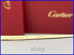 Cartier Panthère Navigator Sunglasses CT0244S 001 Gold Metal Frame Gray Lens 59