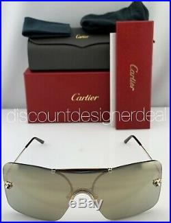 Cartier Panthère Shield Sunglasses CT0023S 002 Gold Frame Gold Mirror Lenses NEW