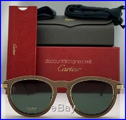 Cartier Première Sunglasses Brown Wood Frame Gold / Green Polarized CT0054S 001