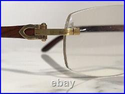 Cartier Rimless Bubinga Wood 18k Wood Glasses Sunglasses Eyeglasses Frames Buffs