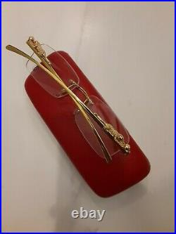 Cartier Rimless Glasses Gold with Cartier Case