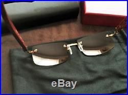 Cartier Rimless Wood Sunglasses Size 58-18-135mm (Gold Brown)