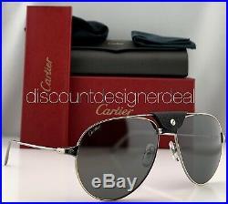 Cartier Santos Aviator Sunglasses CT0038S 003 Silver Gold Silver Mirror 59mm NEW