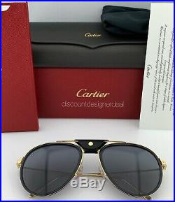 Cartier Santos Aviator Sunglasses Gold Buffalo Horn Gray Polarized CT0098S 001