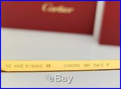 Cartier Santos Aviator Sunglasses Gold Ruthenium Gray Lens CT0035S 001 60mm NEW