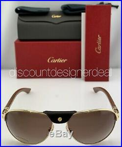 Cartier Santos Aviator Sunglasses Gold Wood Brown Polarized Lens CT0088S 001 61