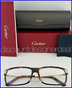 Cartier Santos Eyeglasses CT0073OA 002 Havana Frame Gold Temples Clear Demo Lens