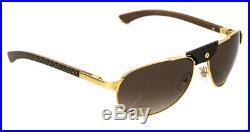 Cartier Santos Gold Metal Brown Polarized Lens Sunglasses Skuesw00178