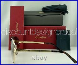 Cartier Santos Sunglasses CT0034S 012 Gold Metal Frame Brown Gradient Lens 61mm