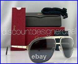 Cartier Santos Sunglasses CT0035S 004 Ruthenium Gold Frame Gray Polarized Lens