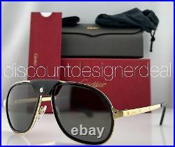 Cartier Santos Sunglasses CT0241S 001 Gold & Black Frame Gray Polarized Lens 57