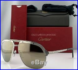 Cartier Santos Sunglasses Platinum Brushed Metal Frame White Gold Mirror CT0035S