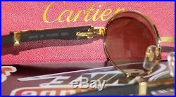 Cartier Smooth Blackwood Buffalo Maroon Brown Lens C Décor Sunglasses Shabowhita