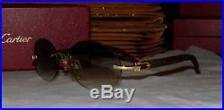 Cartier Smooth Carved Rosewood Round Buffalo Horn Brown C Décor Sunglasses