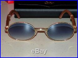 Cartier Smooth Rosewood Buffalo Blue Lens C Décor Sunglasses Shabowhita