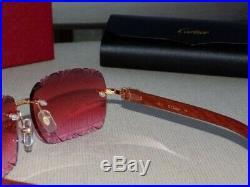 Cartier Smooth Rosewood Buffalo Custom Rose Light Lens C Décor Sunglasses