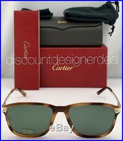 Cartier Square Sunglasses CT0075S 002 Havana Frame Gold Green Polarized Lens 56