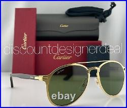 Cartier Sunglasses CT0212S 002 Brushed Gold Frame Tortoiseshell Green Lens 56mm