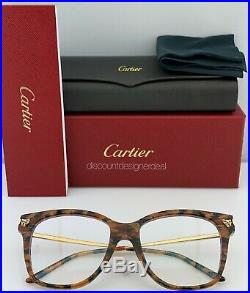 Cartier Womens Cateye Eyeglasses Havana Frame Gold Temples Clear CT0026O 003