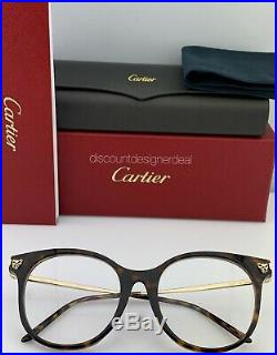 Cartier Womens Cateye Eyeglasses Havana Frame Gold Temples Clear CT0031O 005 52