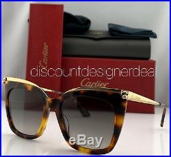Cartier Womens Cateye Sunglasses Tortoise Frame Gold Gray Gradient CT0030S 003