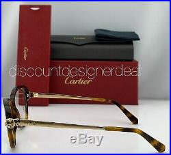 Cartier Womens Panthere Eyeglasses EYE00026 Tortoise Frame Gold Temples Clear