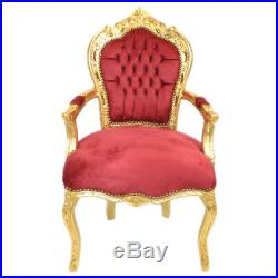 Chairs France Baroque Style Dining Royal Chair With Armrests Gold / Red #70f31