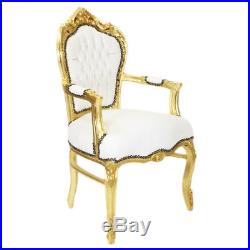 Chairs France Baroque Style Dining Royal Chair With Armrests Gold / White #70f31
