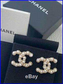 Chanel 2019 Iconic Pearl Crystal CC Logo Earrings